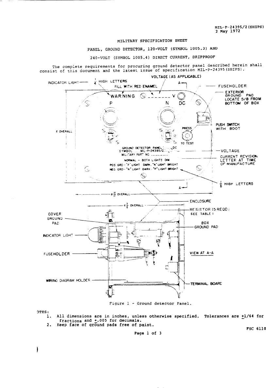 Panel Ground Dtector 120 Volt Symbol 10053 And 240 Volt Symbol